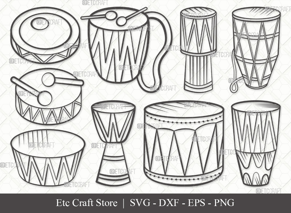 Tribal Drum Outline SVG Cut File | Drum Svg