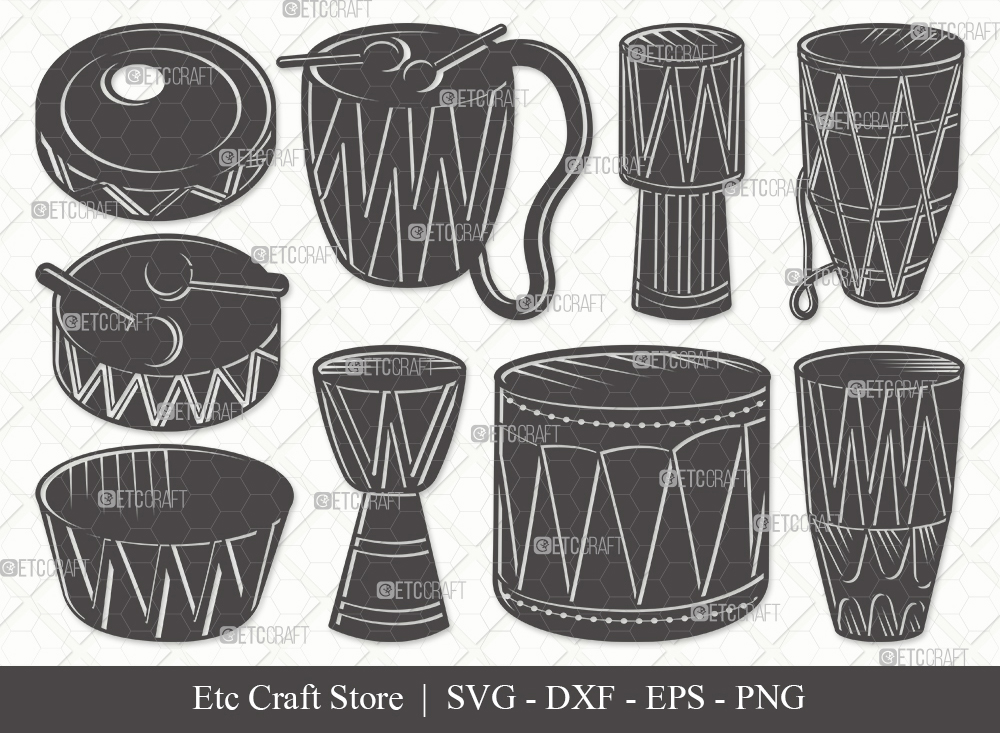 Tribal Drum Silhouette SVG Cut File | Drum Svg
