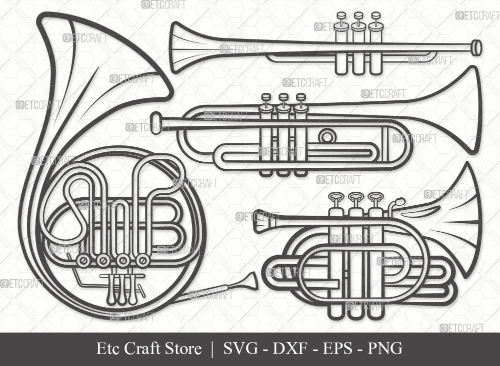 Trumpet Outline SVG Cut File | French Horn Svg