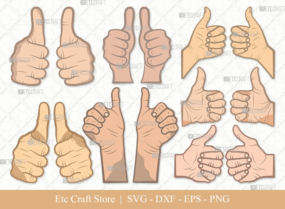 Two Thumbs Up Clipart SVG Cut File | Hands Svg