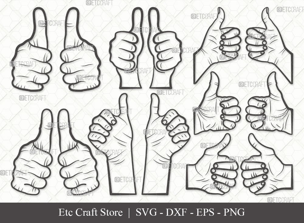 Two Thumbs Up Outline SVG Cut File | Hands Svg