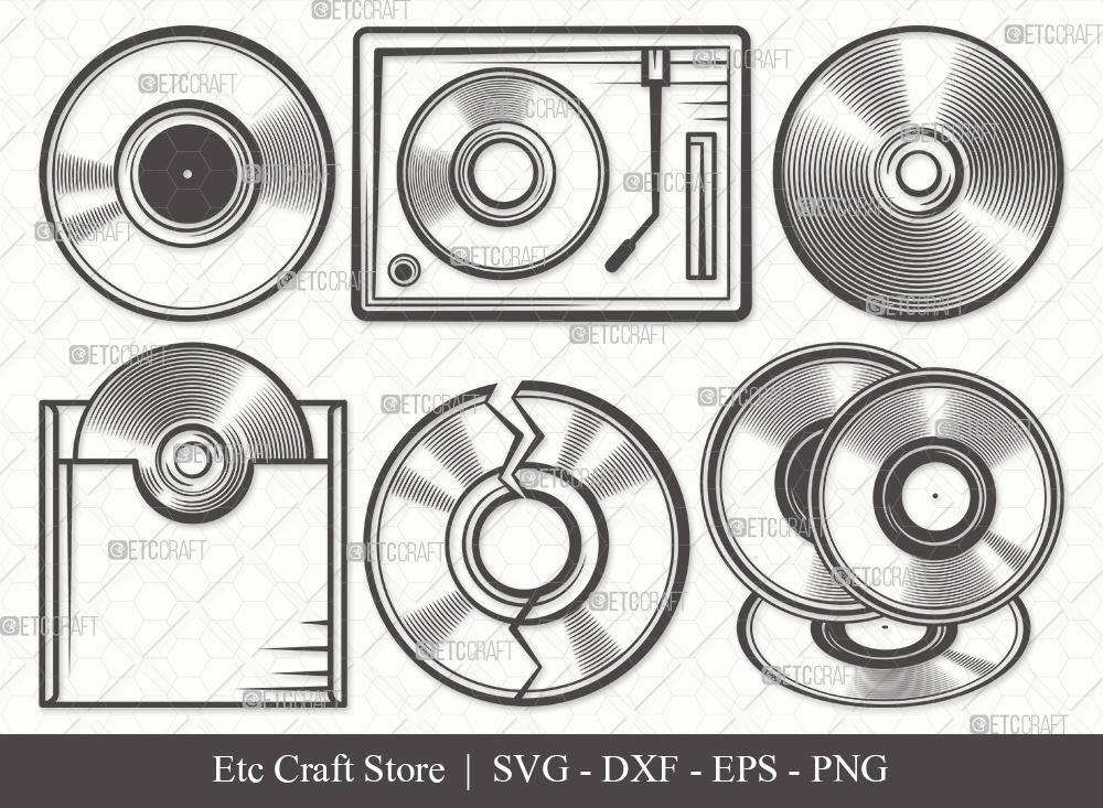 Vinyl Record Outline SVG   Vinyl Disc Svg