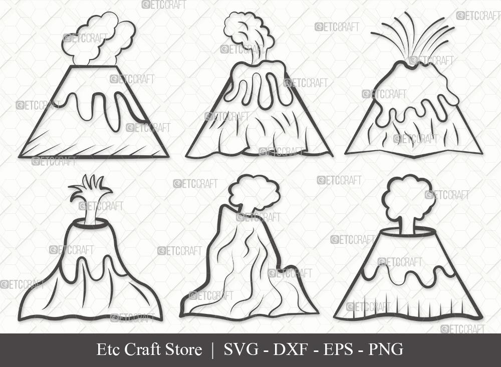 Volcano Outline SVG Cut File | Lava Svg