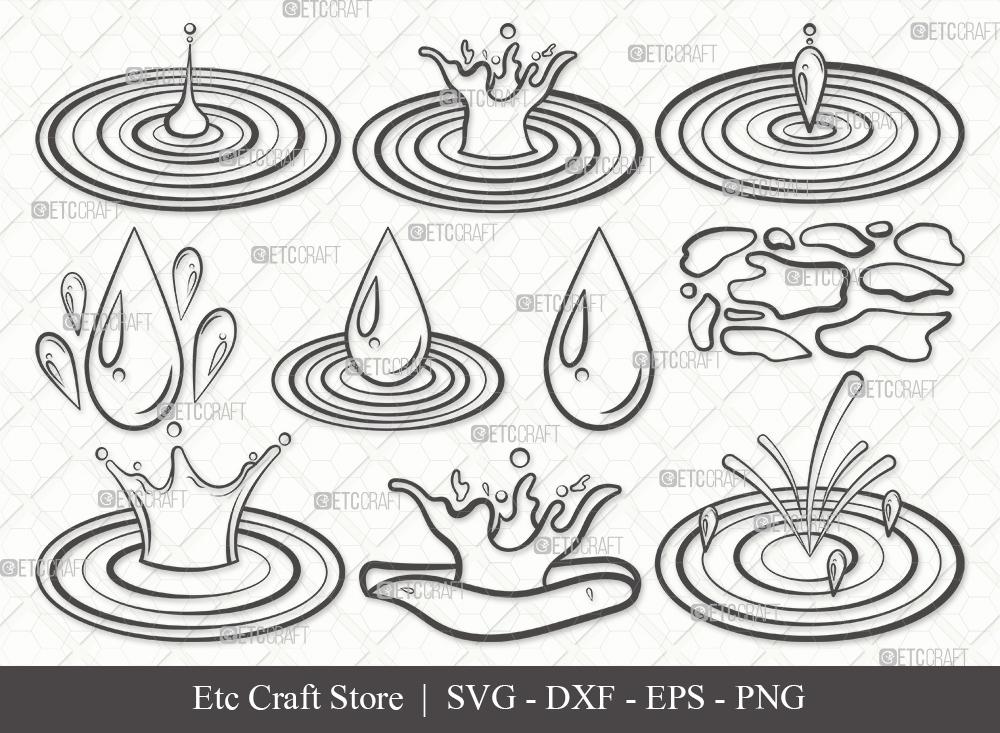 Water Droplets Outline SVG Cut File | Drop Svg