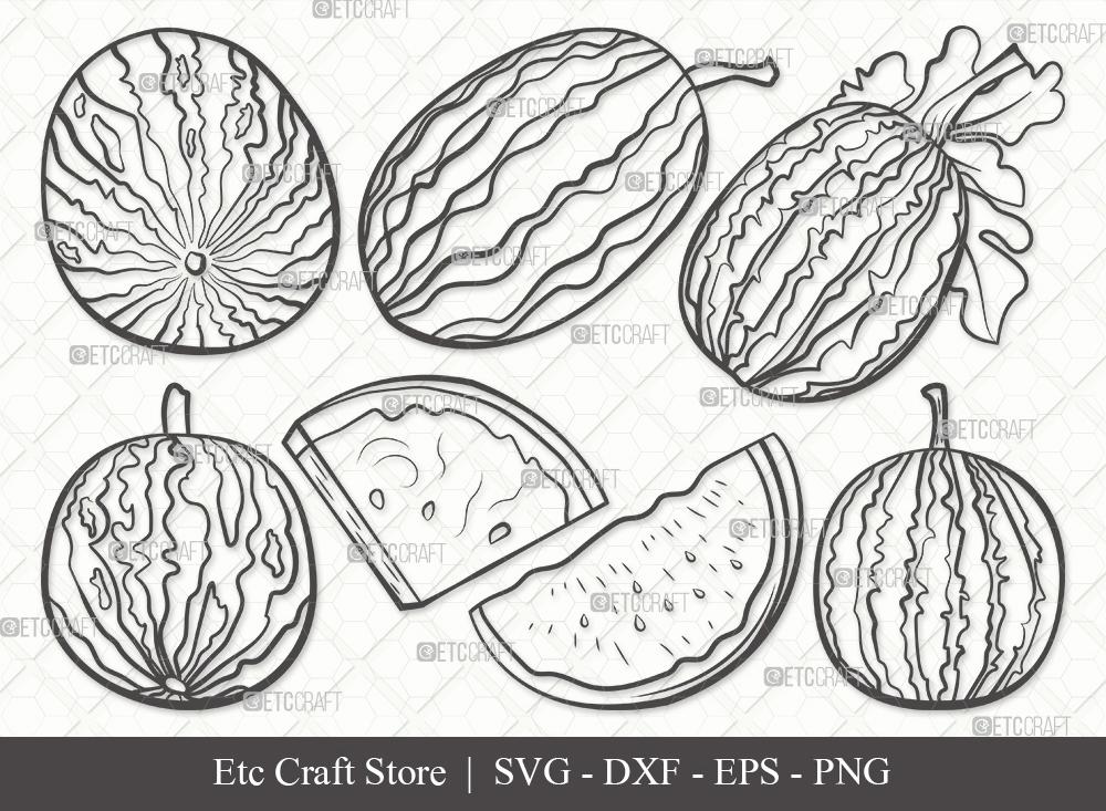 Watermelon Outline SVG Cut File | Fruit Svg