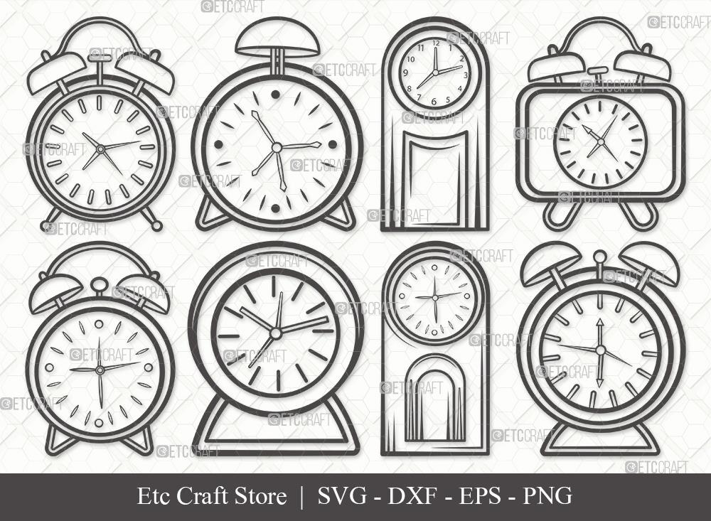 Alarm Clock Outline SVG Cut File | Time Svg
