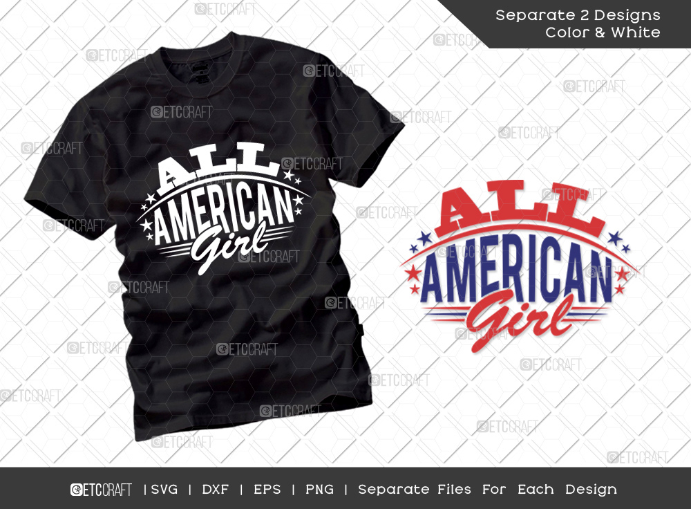 All American Girl SVG Cut File | Independence Day Svg