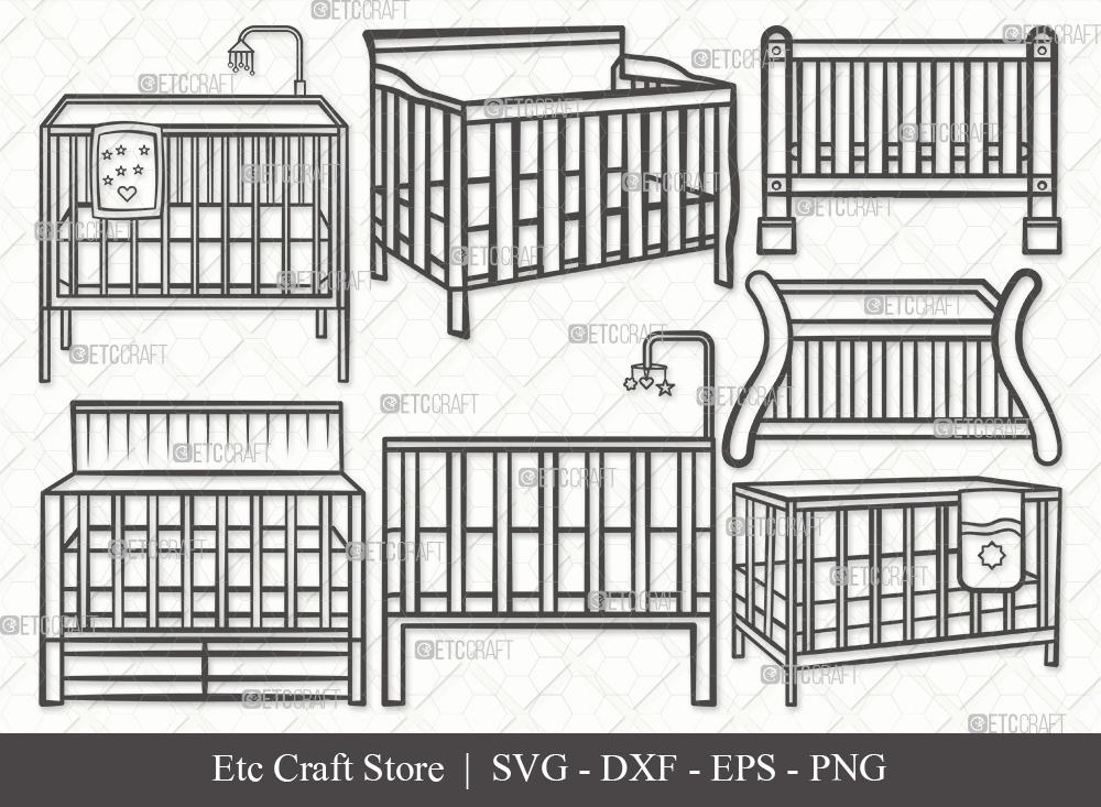 Baby Crib Outline SVG Cut File | Child Svg