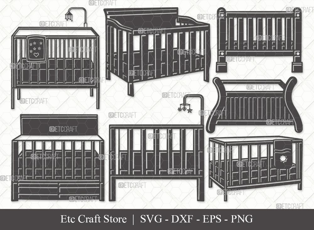 Baby Crib Silhouette SVG Cut File   Child Svg