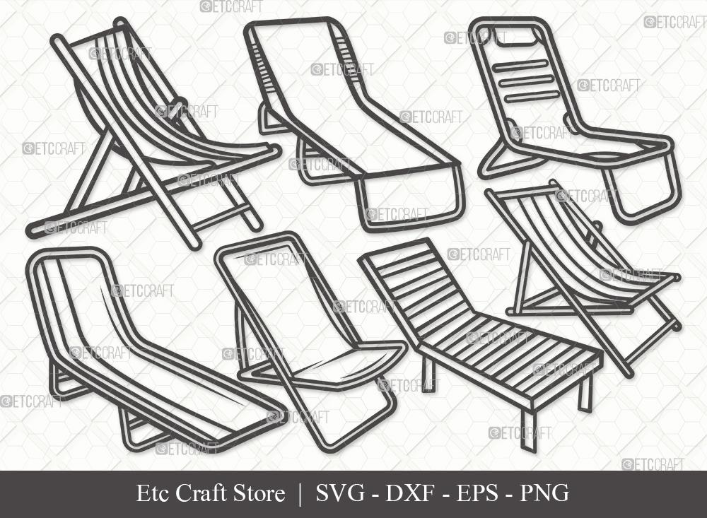 Beach Chair Outline SVG Cut File | Summer Svg