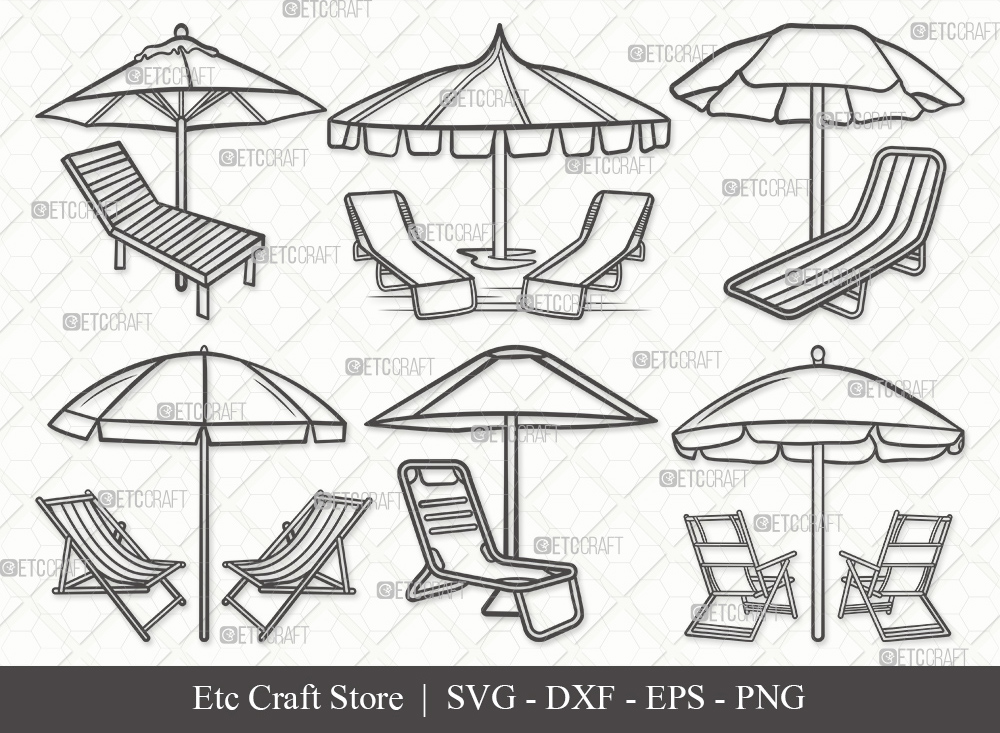 Beach Chairs With Umbrella Outline SVG Cut File