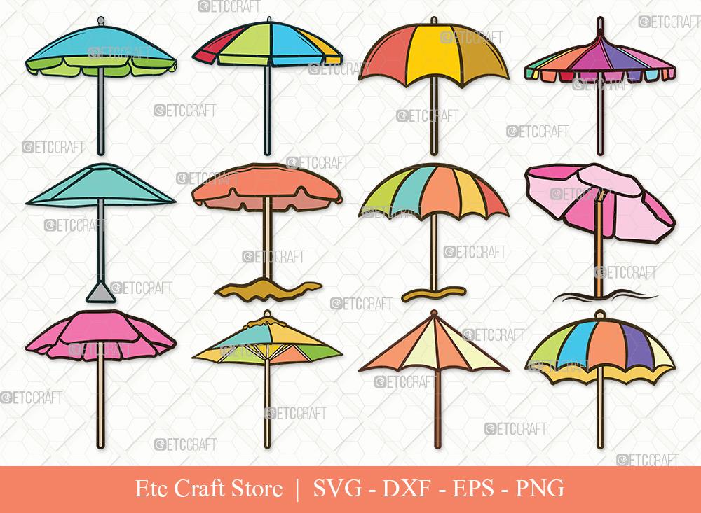 Beach Umbrella Clipart SVG Cut File | Umbrella Svg
