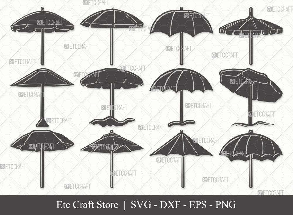 Beach Umbrella Silhouette SVG | Umbrella Svg