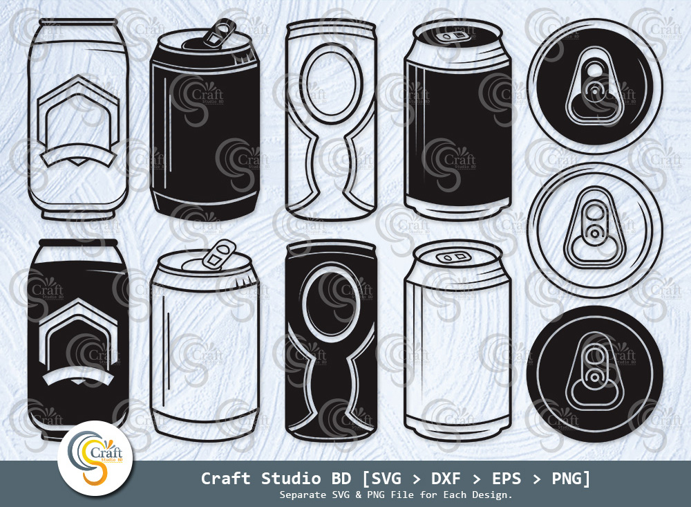 Beer Can Silhouette, Drink Can SVG Bundle