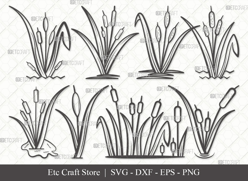 Cattail Outline SVG Cut File | Cattail Plant SVG