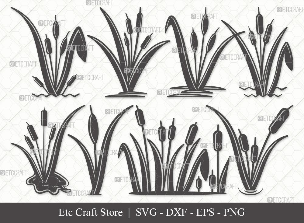 Cattail Silhouette SVG Cut File | Cattail Plant SVG