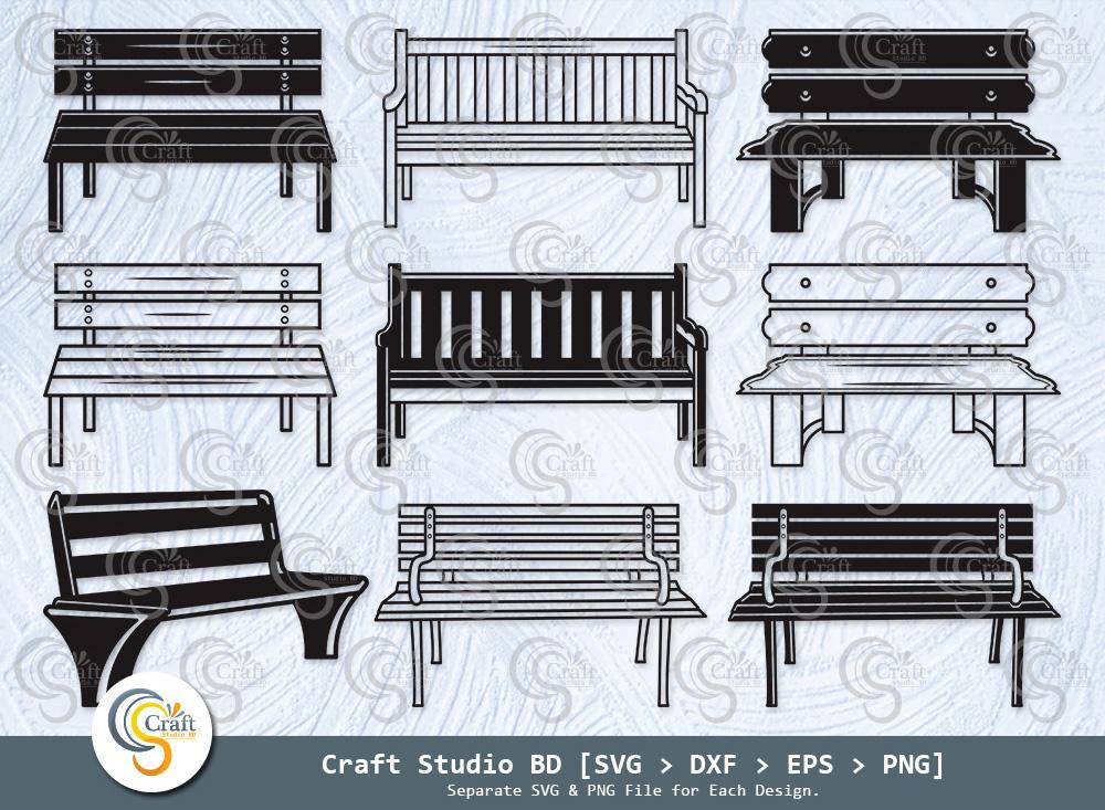 Park Bench Silhouette, Wooden Garden Bench SVG
