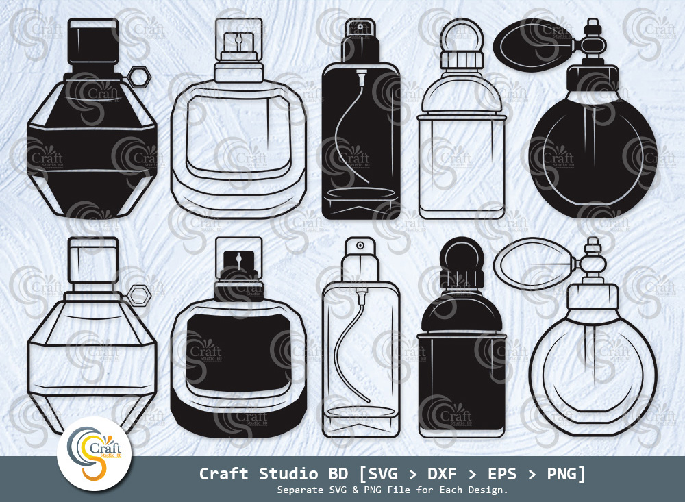 Perfume Silhouette, Perfume Bottle SVG Bundle