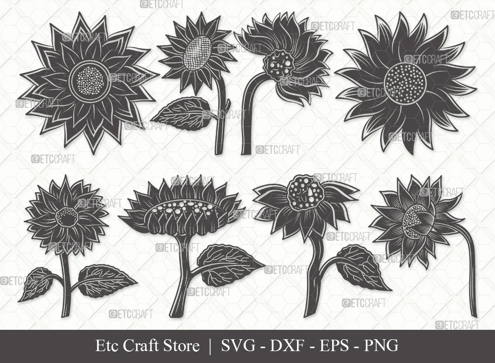 Sunflower Silhouette SVG | Sunflower SVG Bundle