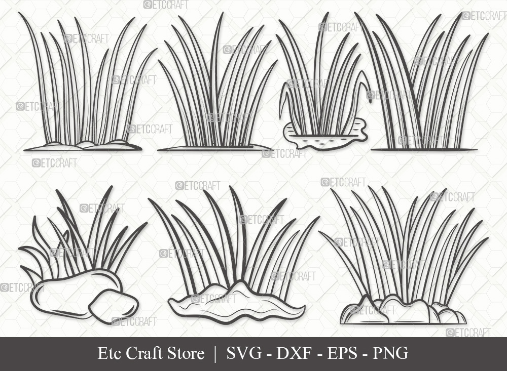 Grass Outline SVG   Plants   Grass SVG Bundle