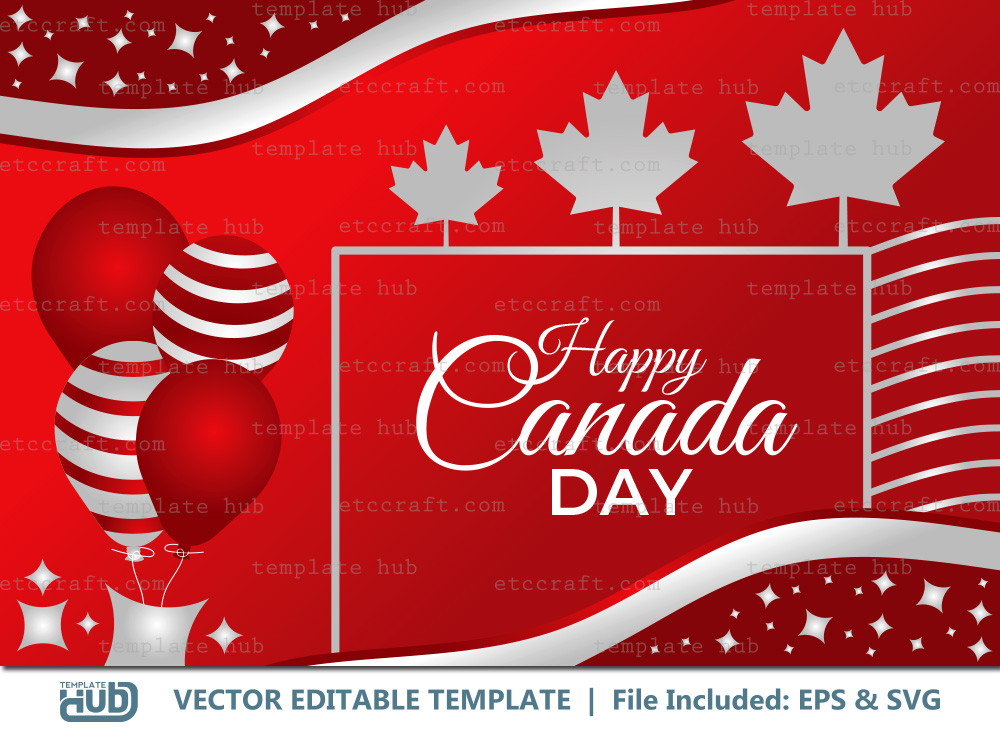 Happy Canada Day Background, Vector Template