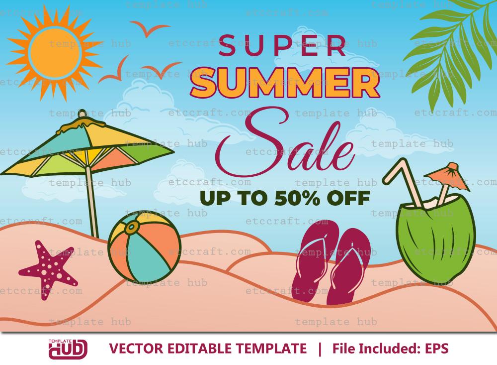 Super Summer Sales Banner, Sales Background