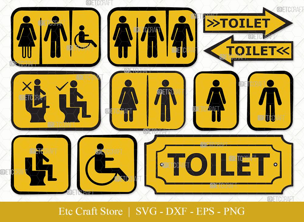 Toilet Sign Clipart SVG | Bathroom Sign Svg