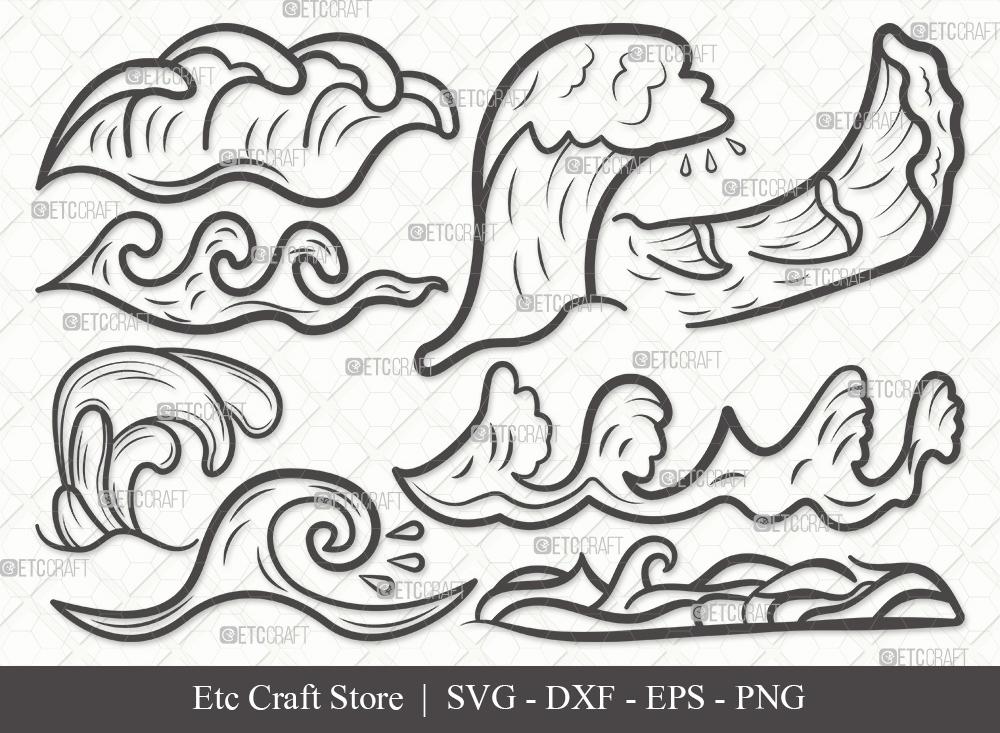 Waves Outline SVG | Ocean Waves SVG Bundle