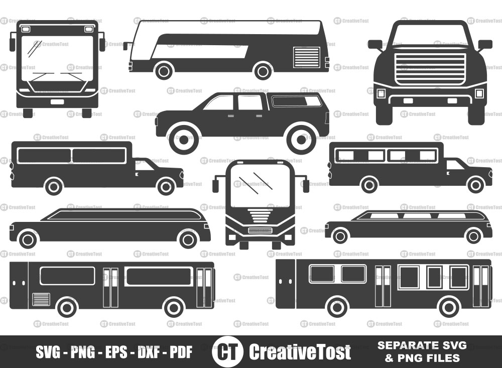 Bus and Car SVG, Bus and Car Silhouette Bundle