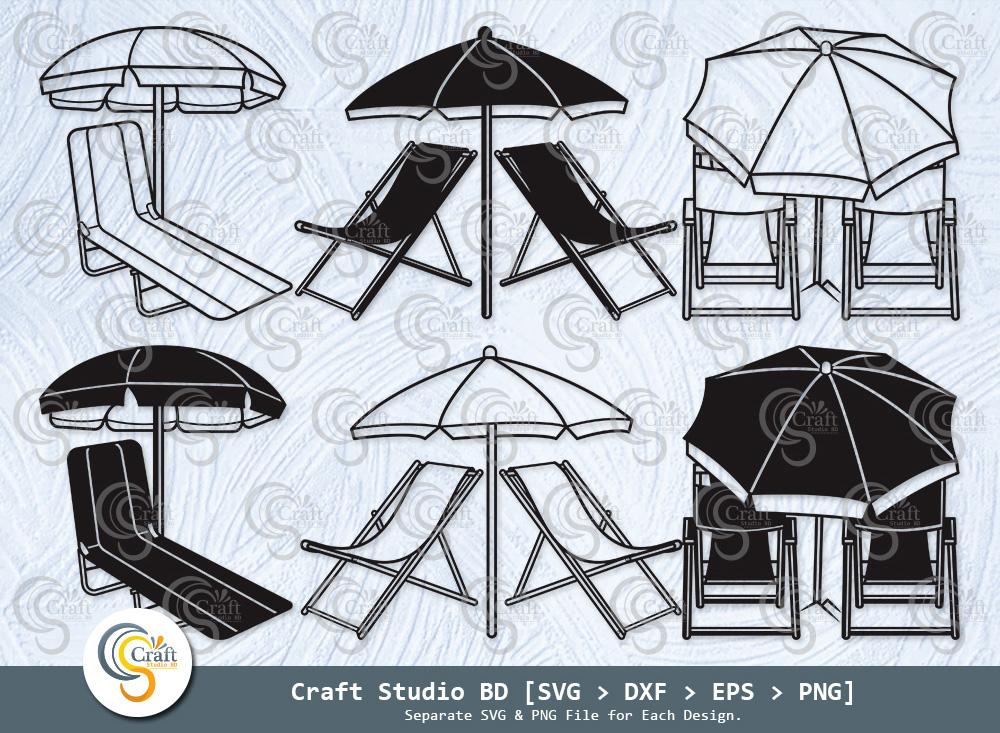 Beach Chair With Umbrella Silhouette, Chair SVG