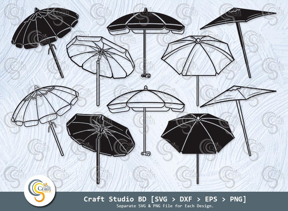 Beach Umbrella Silhouette, Umbrella Svg Bundle