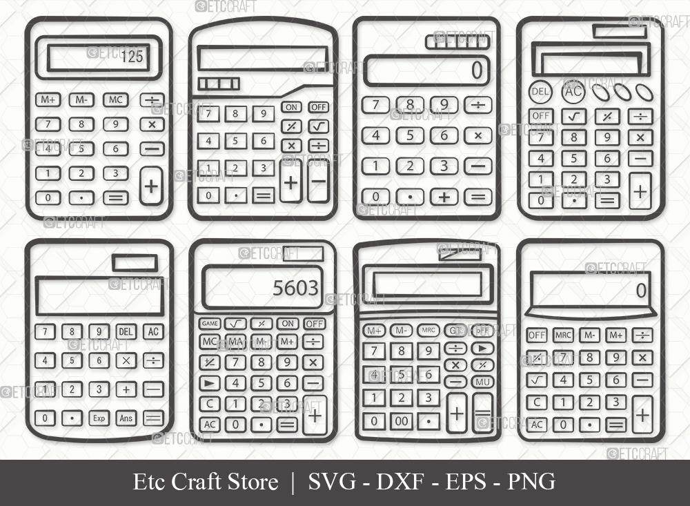 Calculator Outline SVG   Calculator SVG Bundle