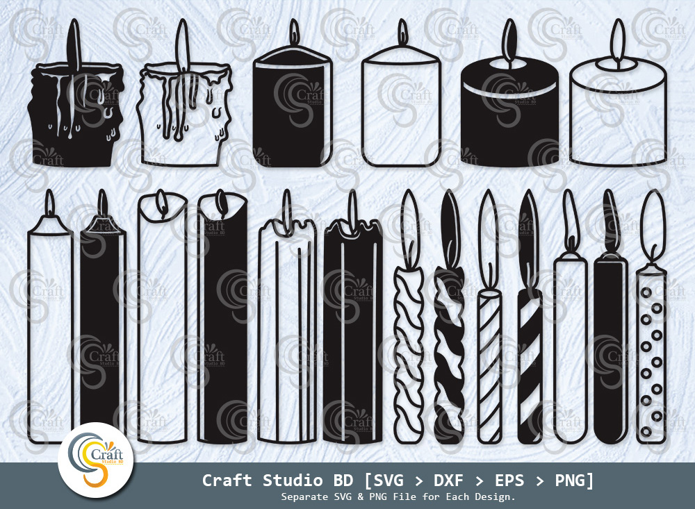 Candle Silhouette, Birthday Candles SVG Bundle