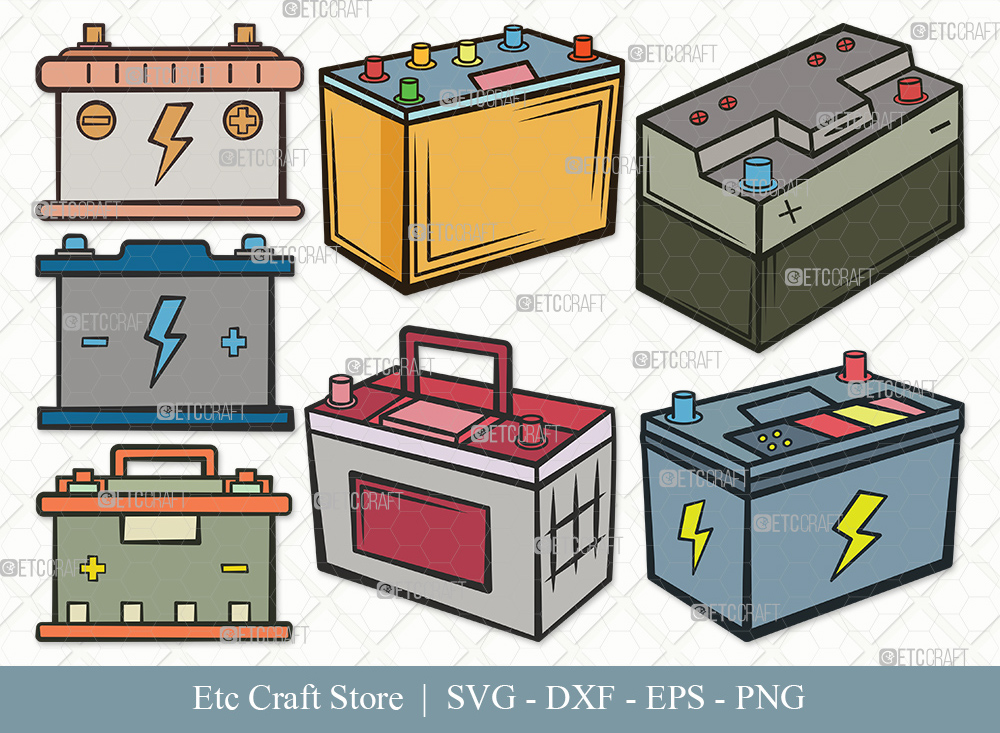 Car Battery Clipart SVG | Car Battery Bundle