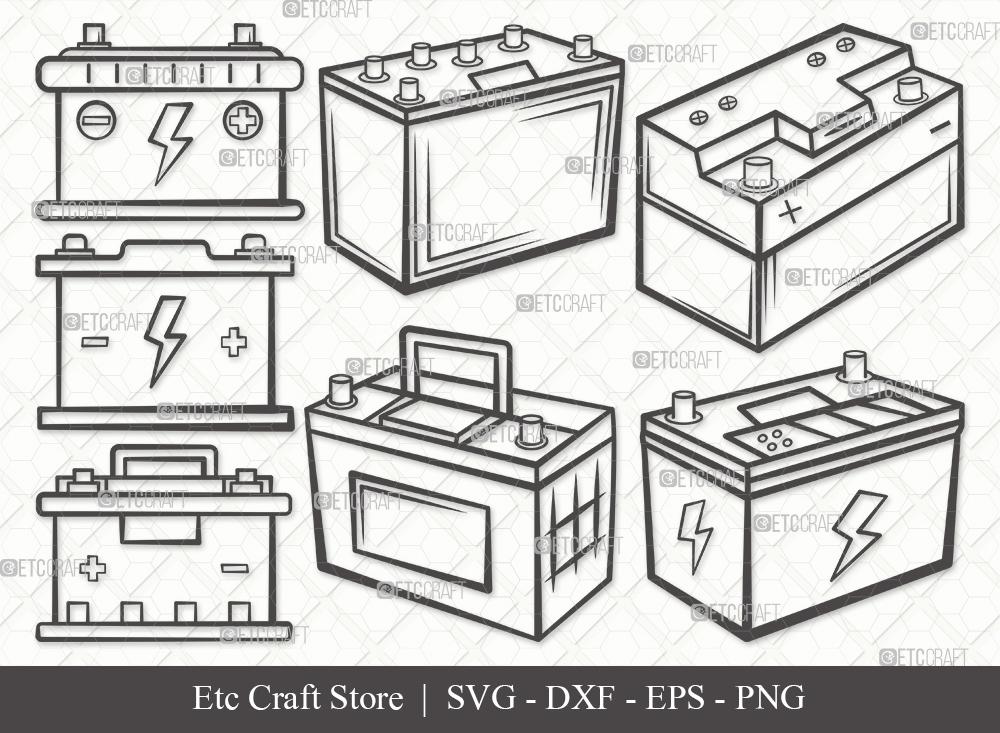 Car Battery Outline SVG | Car Battery Bundle