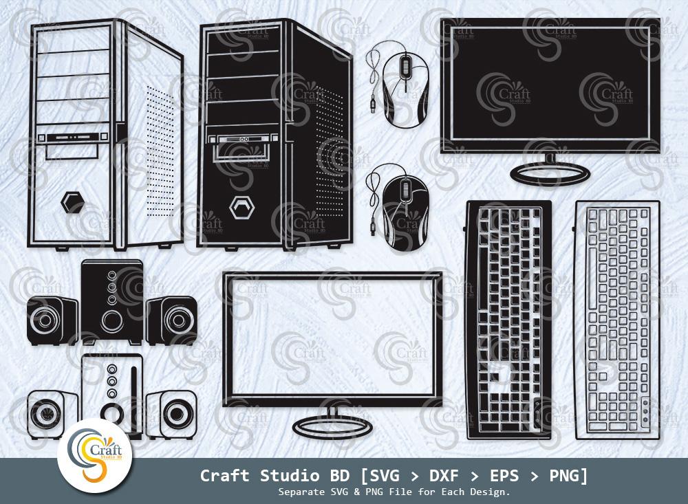Computer Set Silhouette, Computer Set SVG