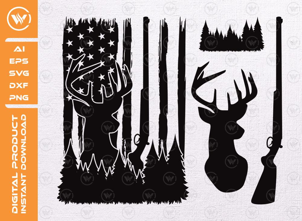 Distressed American Flag SVG | Hunting Flag