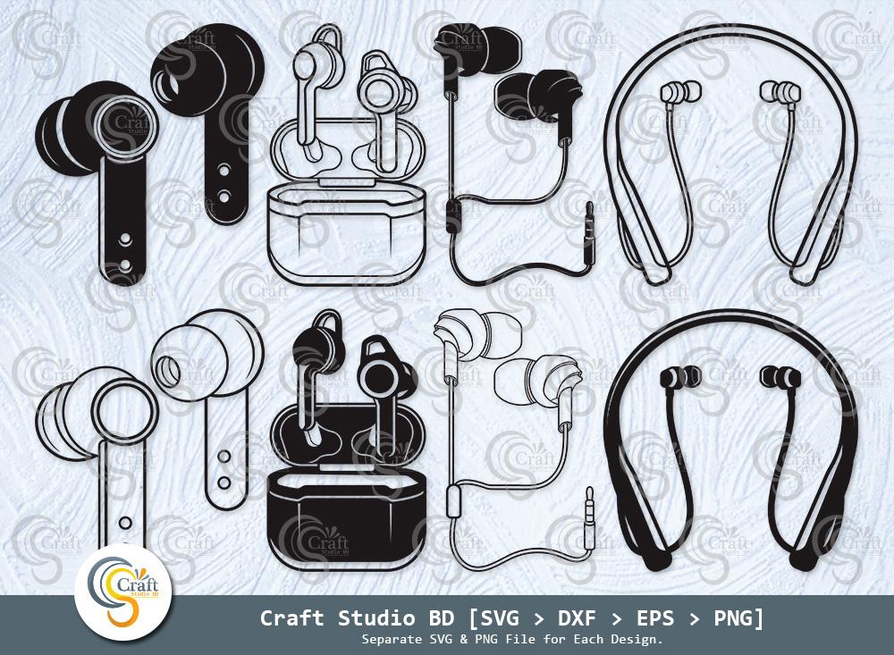 Earphone Silhouette, Headphone SVG Bundle