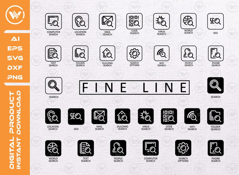 Fine Line Search Icon SVG | Fine Line Icon Pack