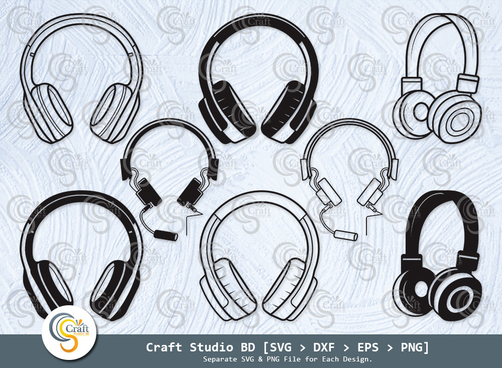 Headphone Silhouette, Headset SVG Bundle