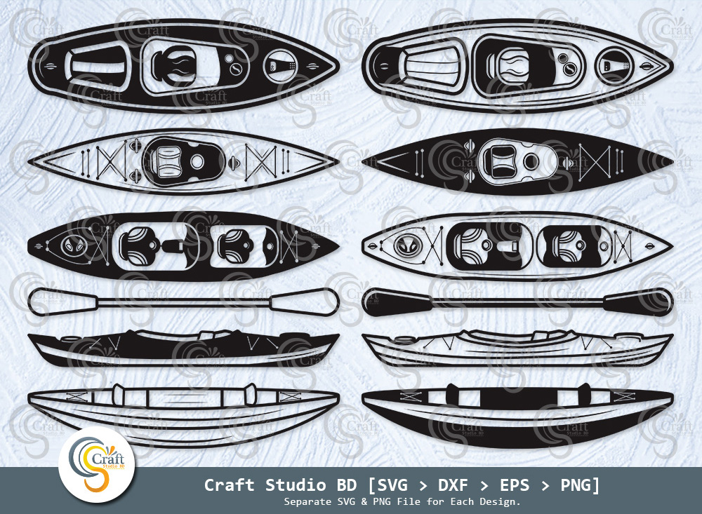 Kayak Silhouette, Paddle SVG, Kayak SVG