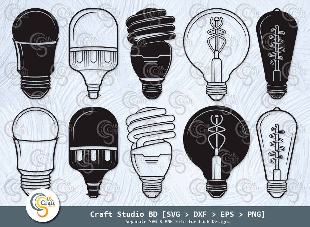 Light Bulb Silhouette, Energy Bulb SVG Bundle