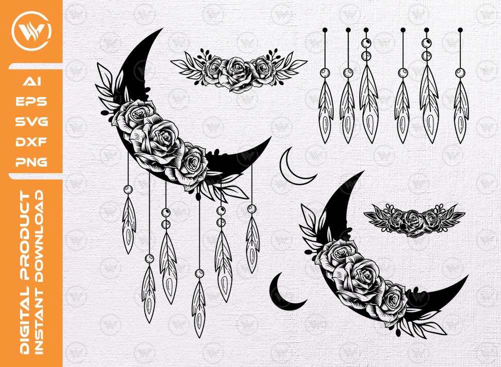 Moon Flowers SVG file | Moon Floral SVG