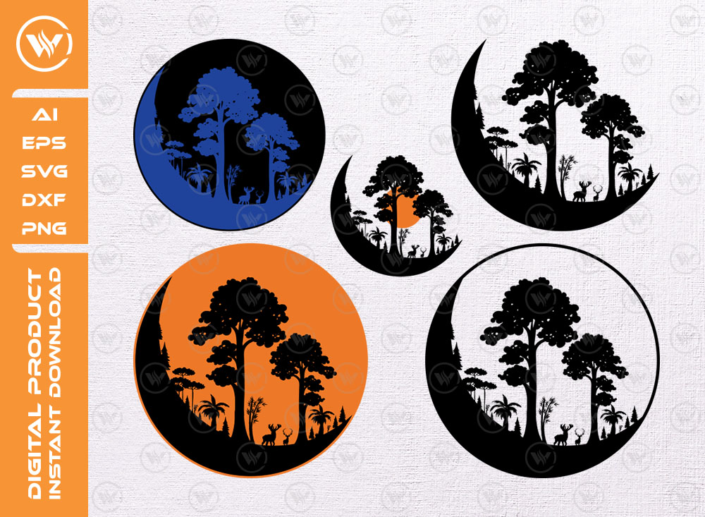 Moon Forest SVG | Moon Clipart | Adventure SVG
