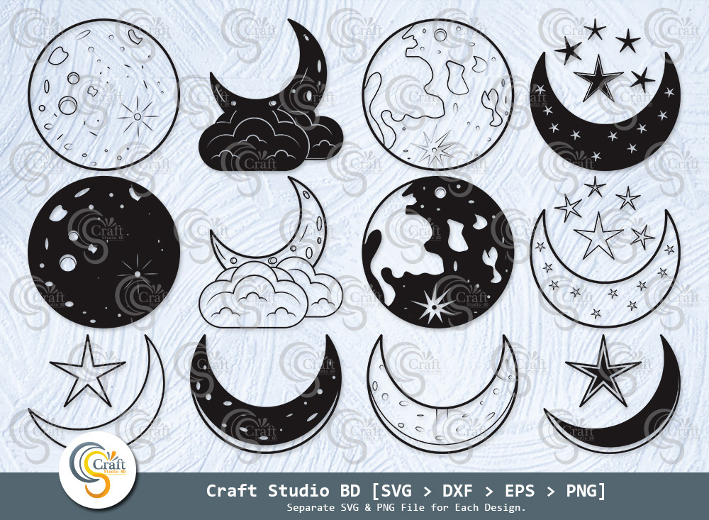 Moon Silhouette, Crescent Moon SVG Bundle