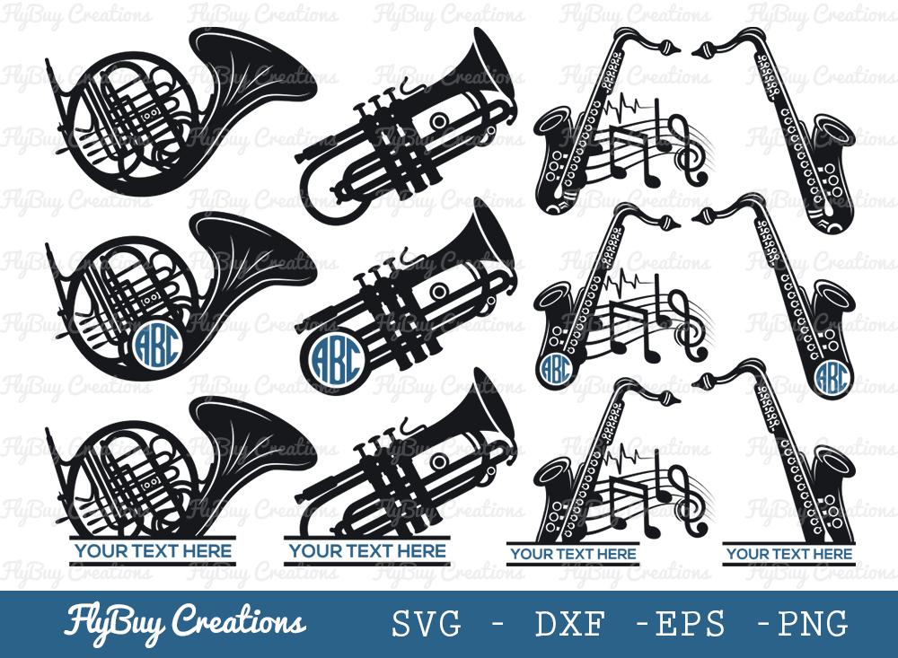 Saxophone SVG | Trumpet SVG | Trombone SVG