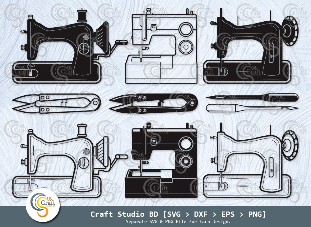 Sewing Machine Silhouette, Sewing Svg Bundle