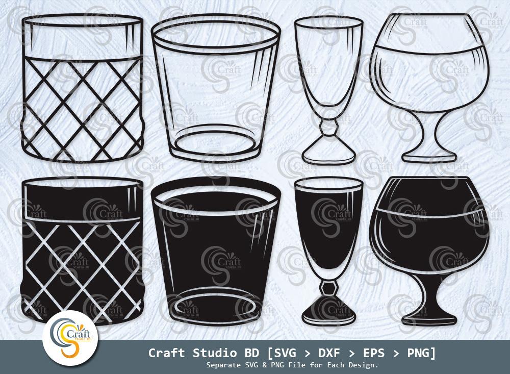 Shot Glass Silhouette, Alcohol Glass SVG Bundle