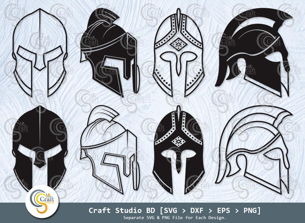 Spartan Helmet Silhouette, Sword Helmet SVG