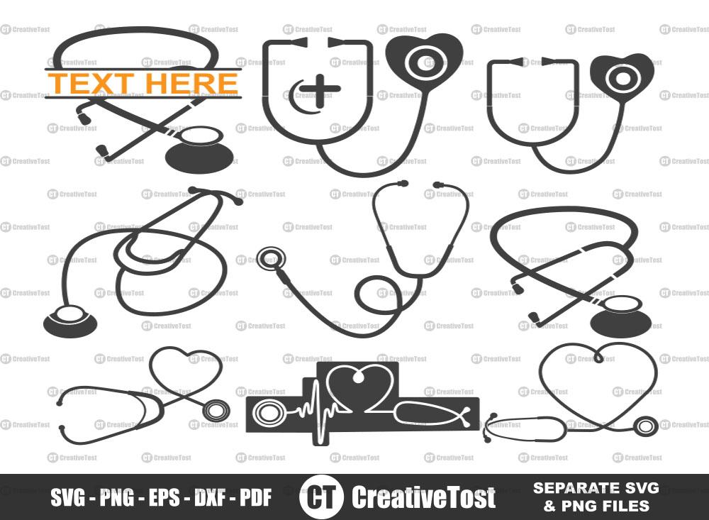 Stethoscope SVG, Stethoscope Split Monogram